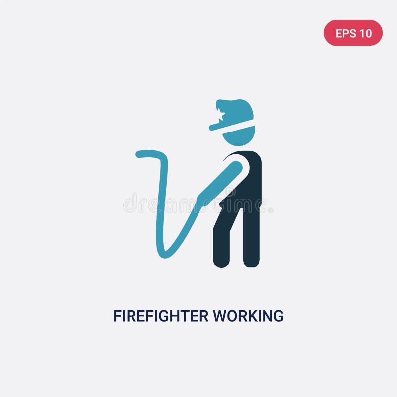Twee kleurenbrandbestrijder die vectorpictogram van mensenconcept werken de geïsoleerde blauwe brandbestrijder die vectortekensym vector illustratie