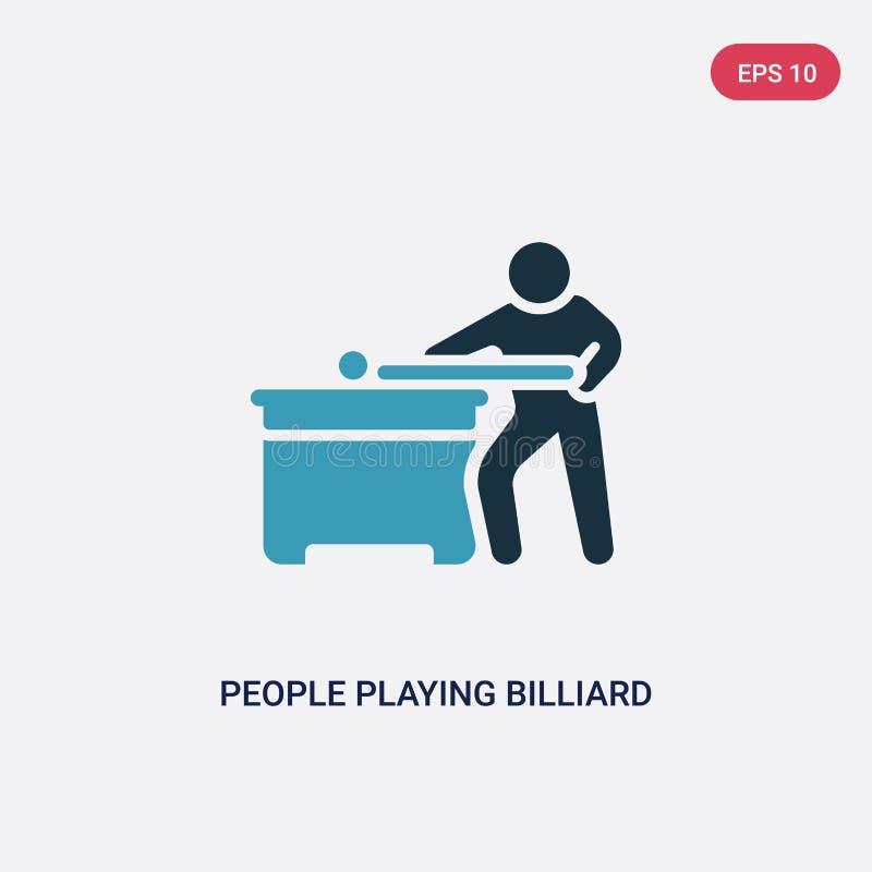 Twee kleurenmensen die biljart vectorpictogram van recreatief spelenconcept spelen geïsoleerde blauwe mensen die biljart vectorte stock illustratie