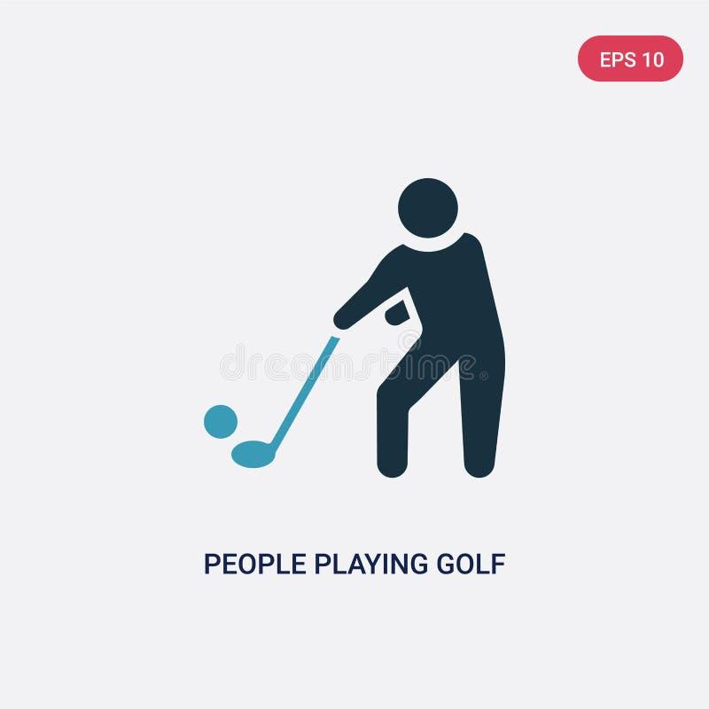 Twee kleurenmensen die golf vectorpictogram van recreatief spelenconcept spelen geïsoleerde blauwe mensen die symbool van het gol vector illustratie