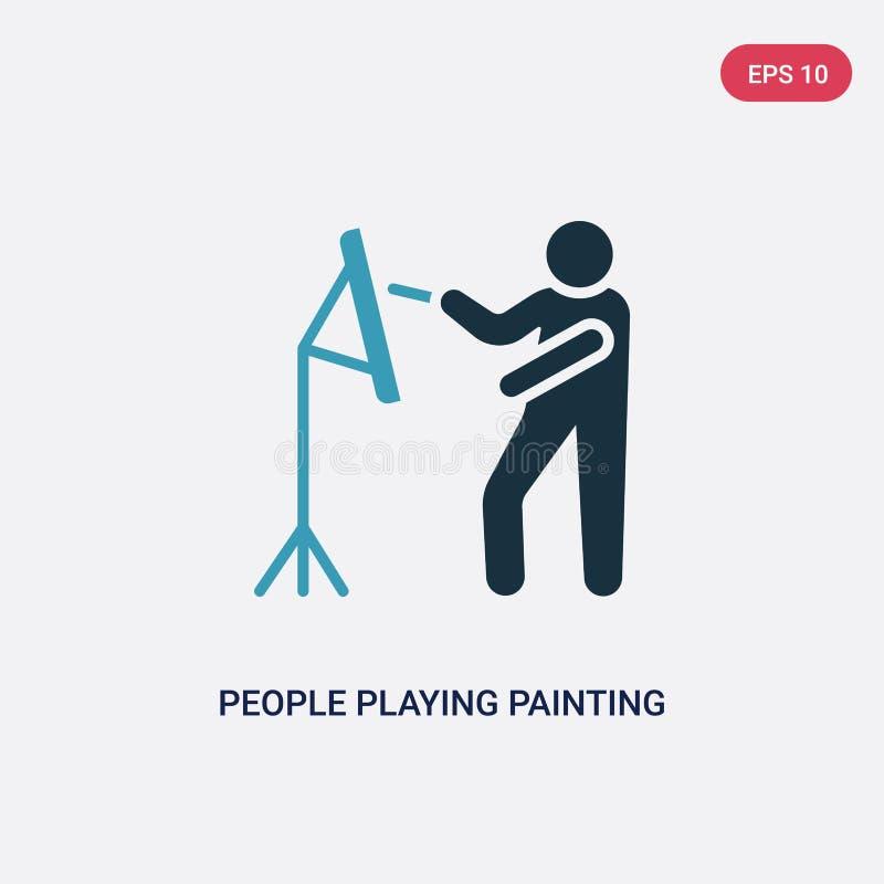 Twee kleurenmensen die het schilderen vectorpictogram van recreatief spelenconcept spelen geïsoleerde blauwe mensen die het schil vector illustratie