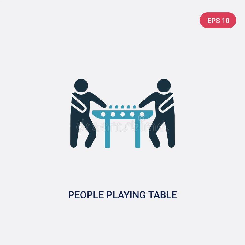 Twee kleurenmensen die het vectorpictogram van de lijstvoetbal van recreatief spelenconcept spelen geïsoleerde blauwe mensen die  vector illustratie