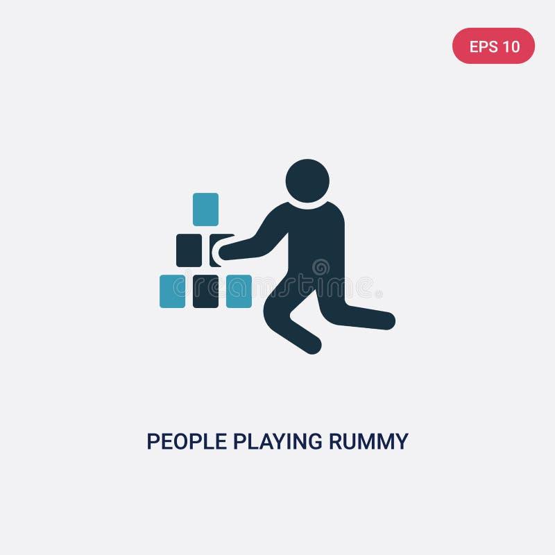 Twee kleurenmensen die rummy vectorpictogram van recreatief spelenconcept spelen geïsoleerde blauwe mensen die symbool van het ru royalty-vrije illustratie