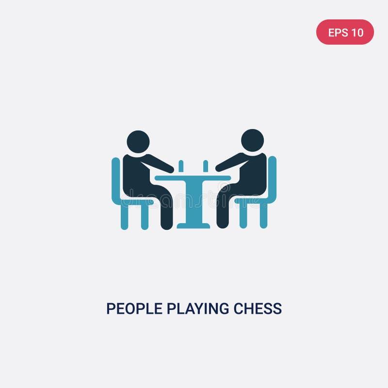 Twee kleurenmensen die schaak vectorpictogram van recreatief spelenconcept spelen geïsoleerde blauwe mensen die symbool van het s stock illustratie