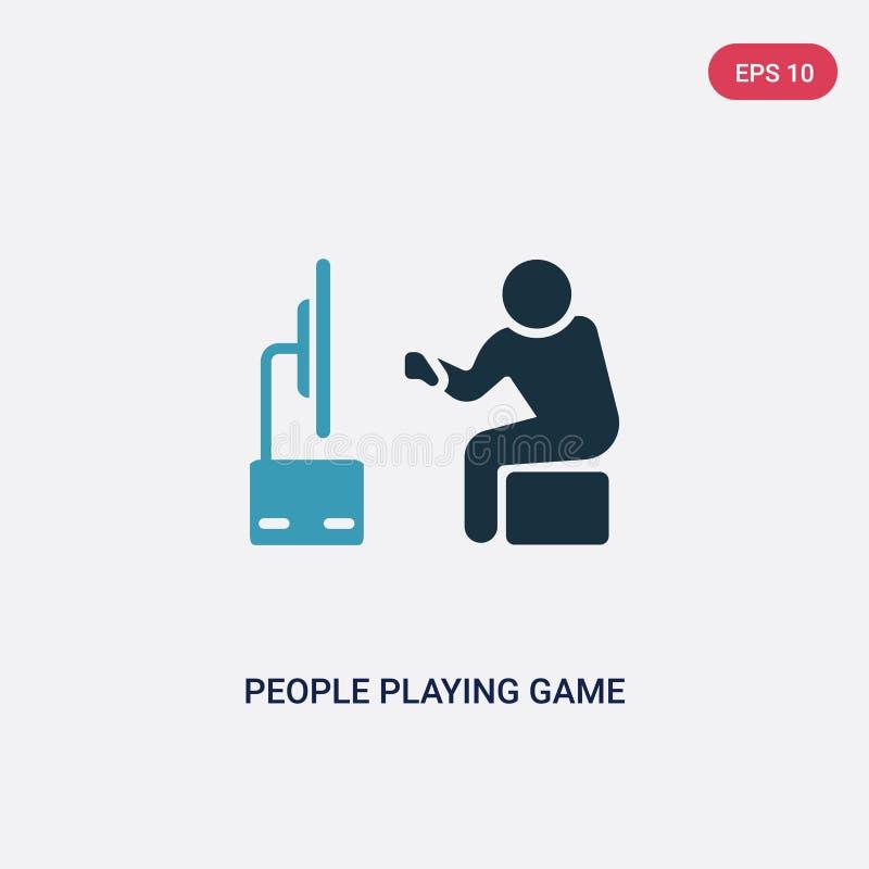 Twee kleurenmensen die spel vectorpictogram van recreatief spelenconcept spelen geïsoleerde blauwe mensen die symbool van het spe royalty-vrije illustratie