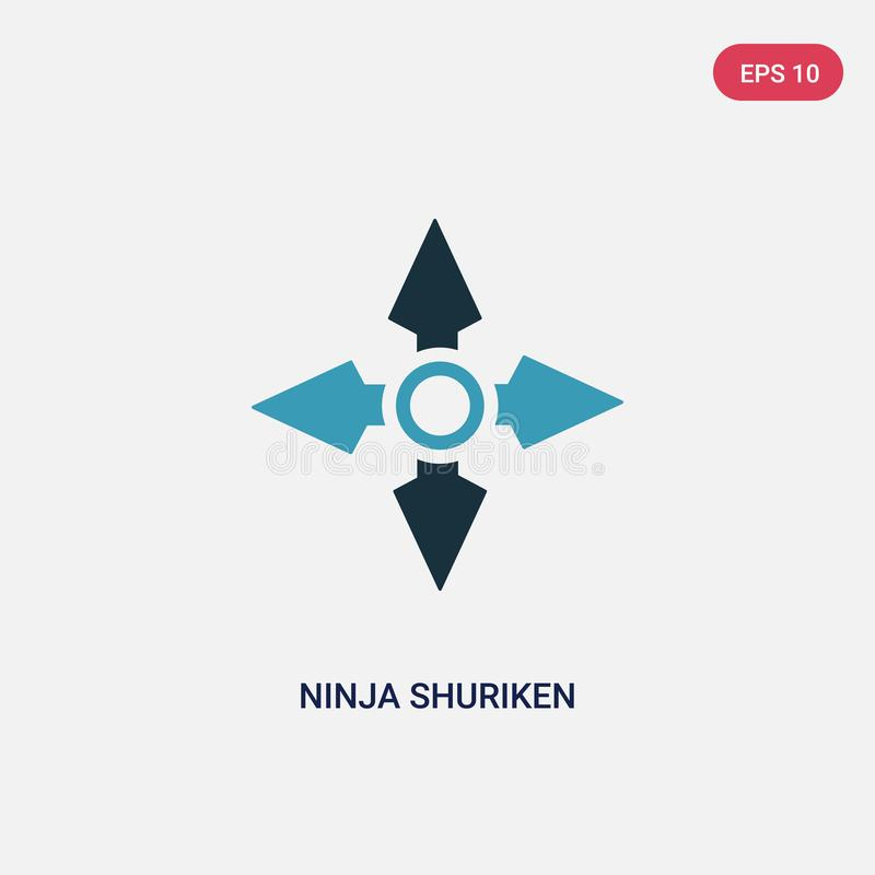 Twee kleurenninja shuriken vectorpictogram van sporten en de concurrentieconcept ge?soleerde blauwe ninja shuriken vectortekensym royalty-vrije illustratie