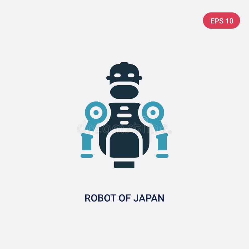 Twee kleurenrobot van het vectorpictogram van Japan van ander concept de geïsoleerde blauwe robot van vector het tekensymbool van stock illustratie