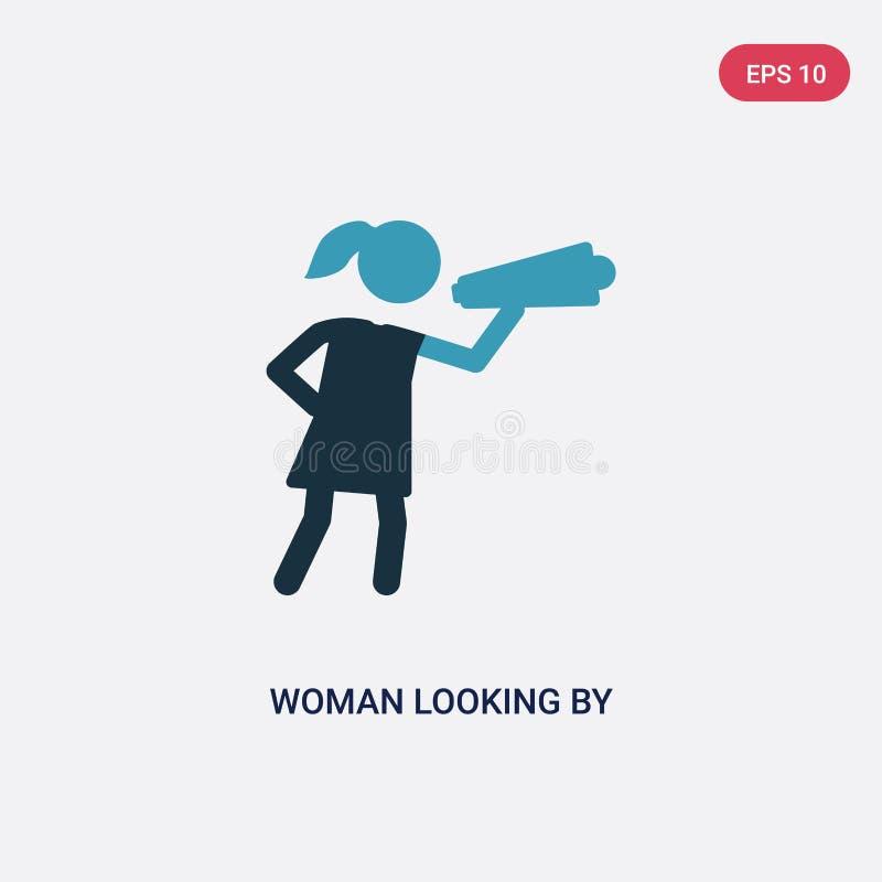 Twee kleurenvrouw die door een kijker vectorpictogram kijken van mensenconcept geïsoleerde blauwe vrouw die door een kijker vecto vector illustratie