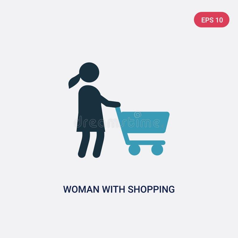 Twee kleurenvrouw met boodschappenwagentje vectorpictogram van mensenconcept de geïsoleerde blauwe vrouw met symbool van het bood stock illustratie