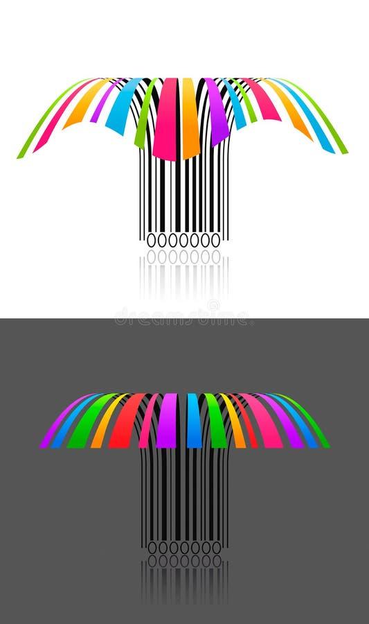 Twee kleurrijk creatief streepjescode 3d effect vector illustratie