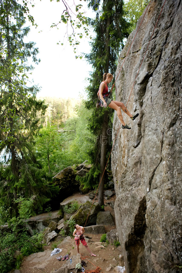 Twee klimmers stock afbeeldingen