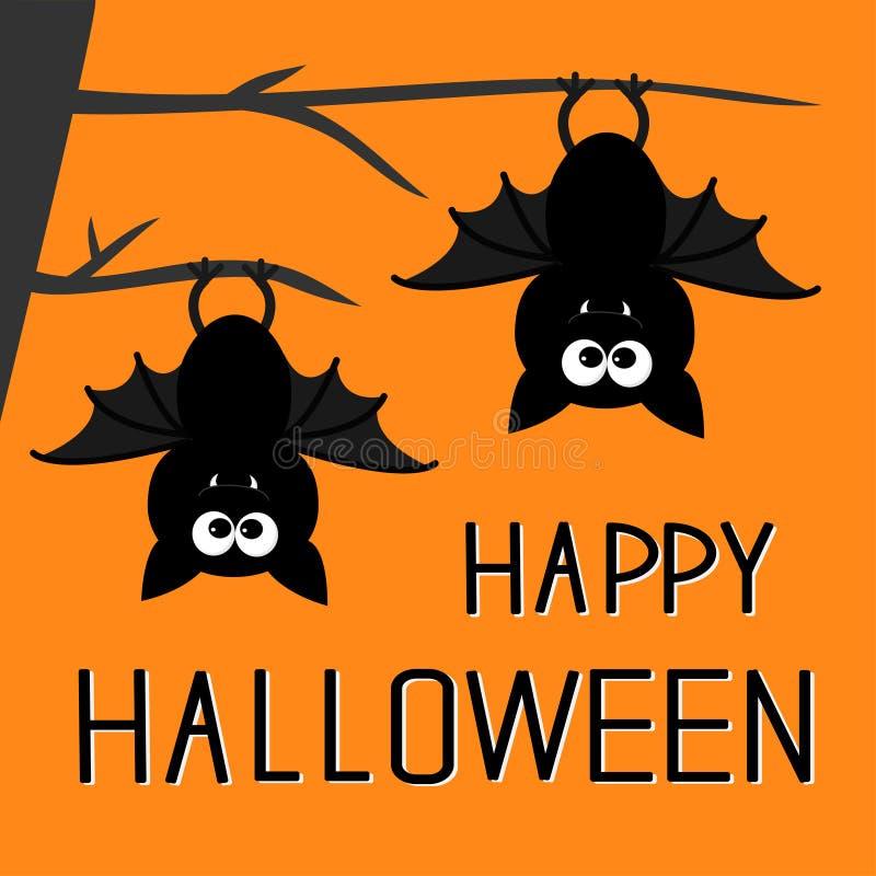 Twee knuppels die op de boom hangen De gelukkige kaart van Halloween Vlak Ontwerp stock illustratie