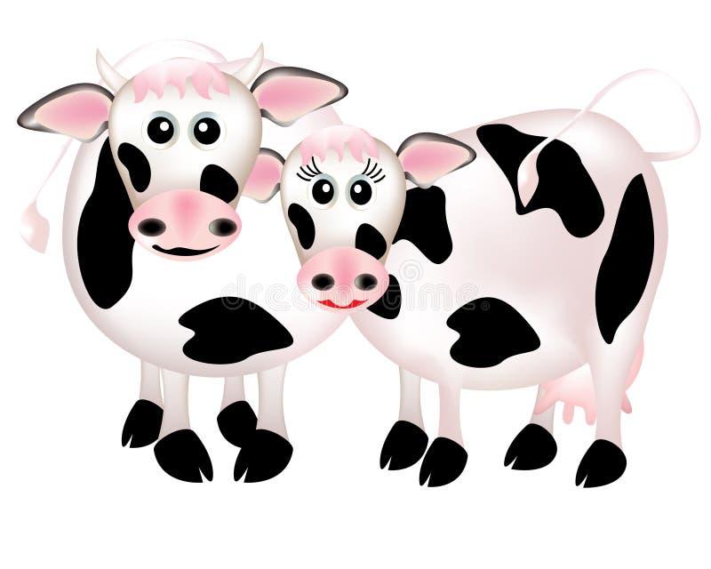 Twee koeien in liefde, beeldverhaal royalty-vrije illustratie