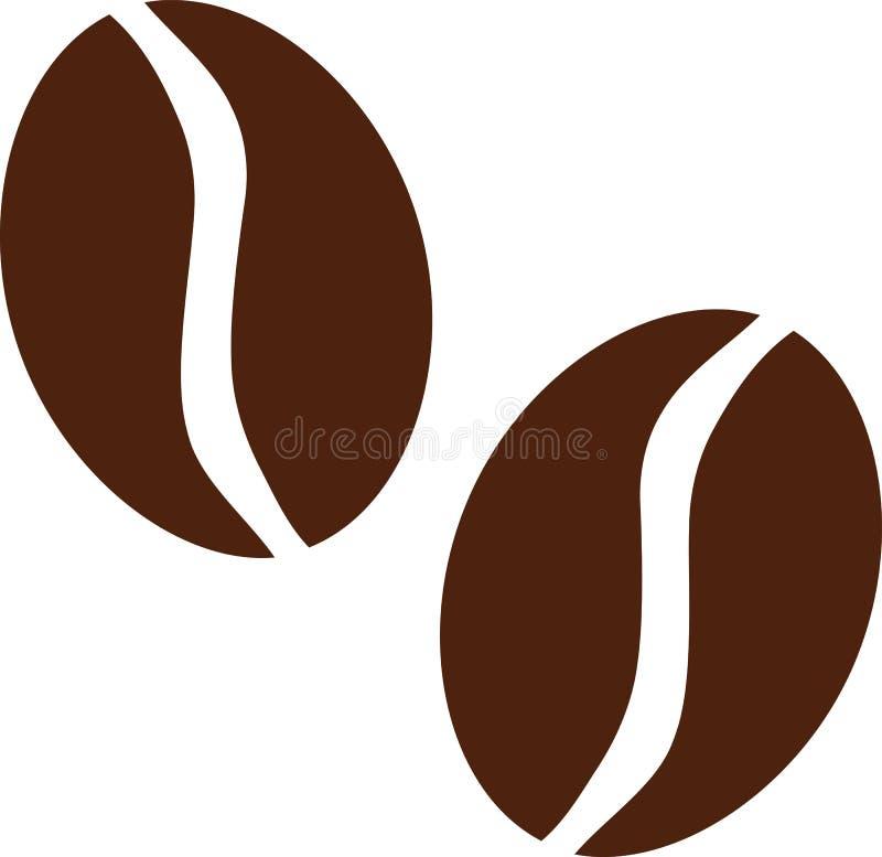 Twee koffiebonen stock illustratie