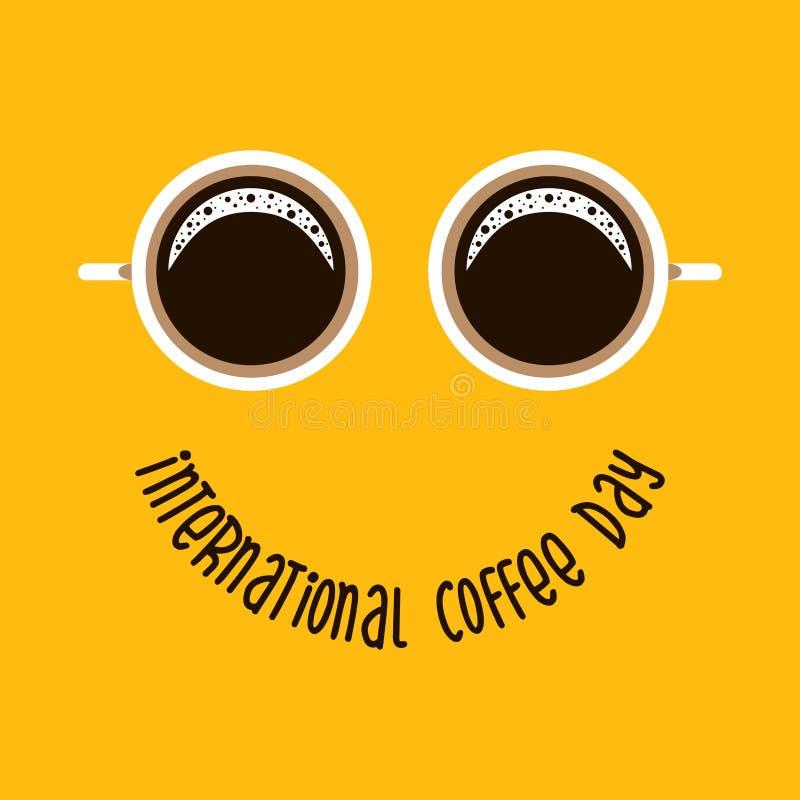 Twee koffiemok zoals ogen en tekst - Internationale Koffiedag zoals glimlach Geschikt voor groetkaart, affiche en banner stock illustratie