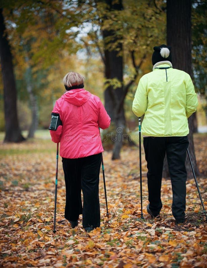 Twee kogelvisjasje geklede bejaarden zijn betrokken bij het Skandinavische lopen in het park in off-road in het midden van royalty-vrije stock afbeelding