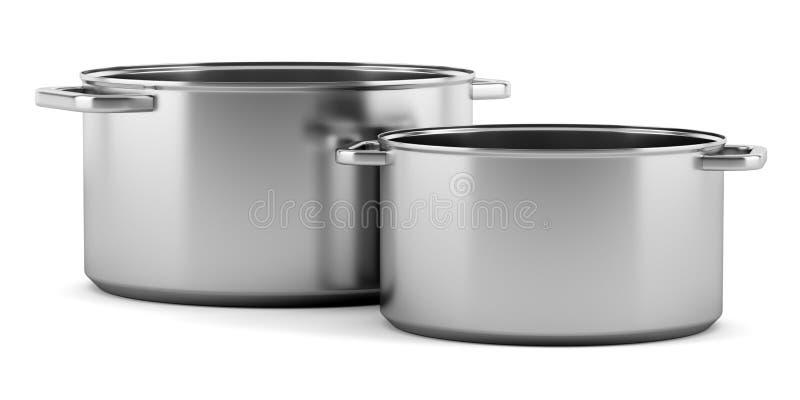 Twee kokende die pannen op wit worden geïsoleerd vector illustratie