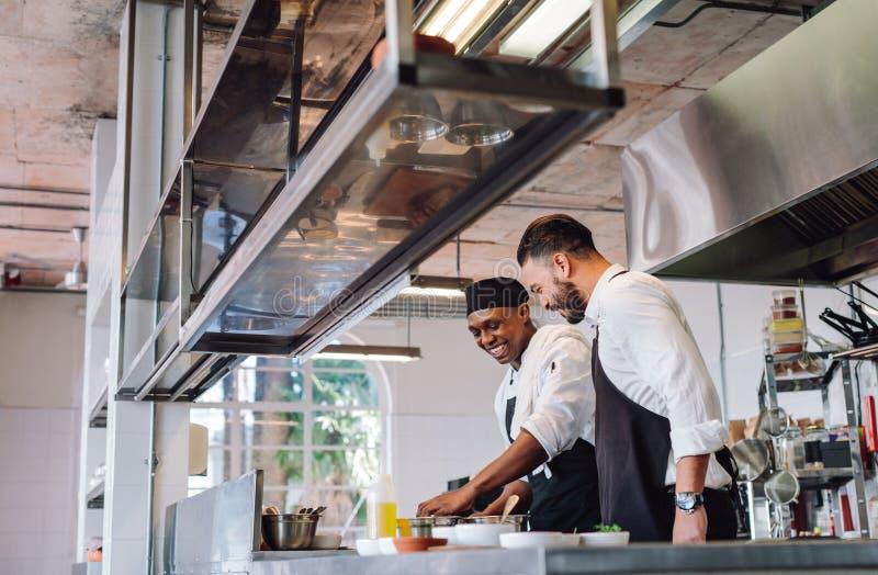 Twee koks die voedsel in restaurantkeuken voorbereiden royalty-vrije stock fotografie