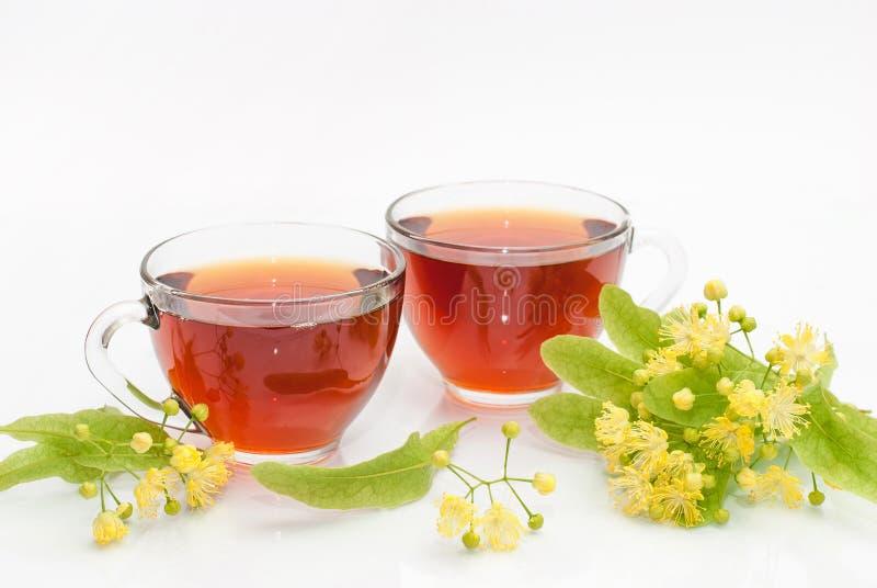 Twee kop theeën met een twijg van bloeiende linde royalty-vrije stock afbeelding
