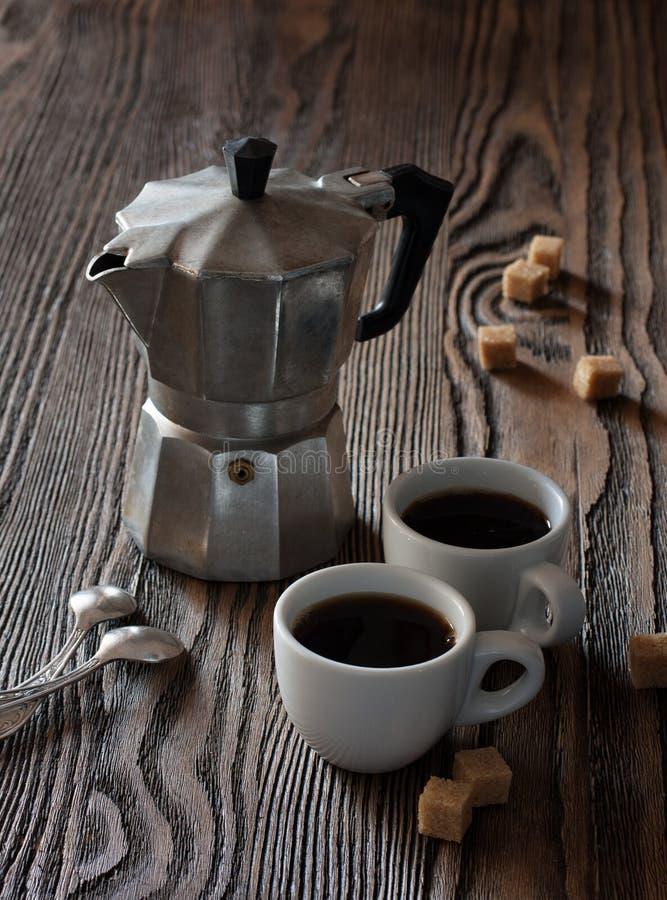 Twee koppen van espresso royalty-vrije stock afbeeldingen