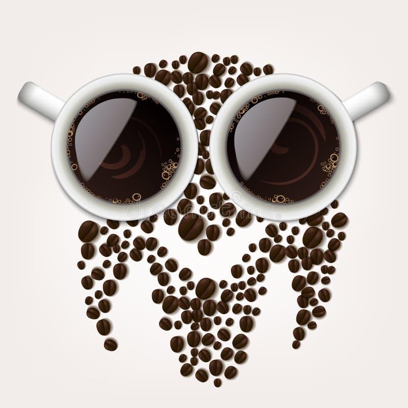 Twee koppen van koffie met koffiebonen die een uilsymbool vormen vector illustratie