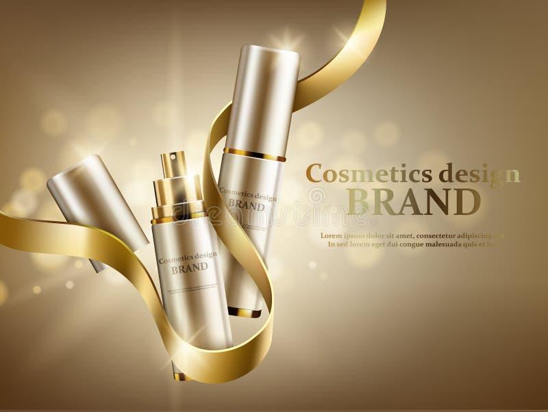 Twee kosmetische kruiken met een gouden lint op een gouden achtergrond vector illustratie