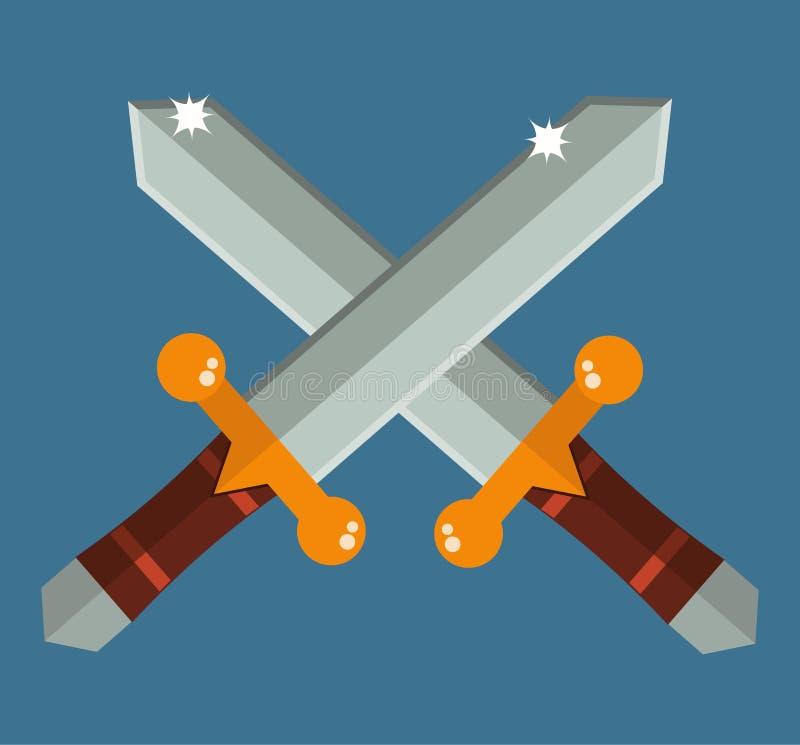 Twee kruisten de zwaarden van Azië met de gouden van het het wapenbeeldverhaal van handvatten traditionele samoeraien vlakke vect royalty-vrije illustratie