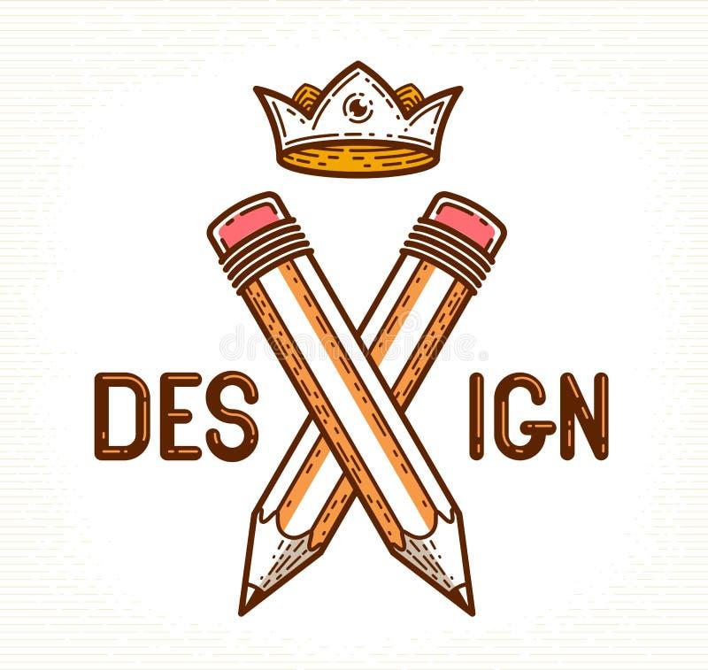 Twee kruisten potloden met vleugels en kroon, vector eenvoudig in embleem of pictogram voor ontwerper of studio, creatieve koning vector illustratie