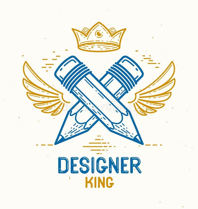 Twee kruisten potloden met vleugels en kroon, vector eenvoudig in embleem of pictogram voor ontwerper of studio, creatieve koning royalty-vrije illustratie