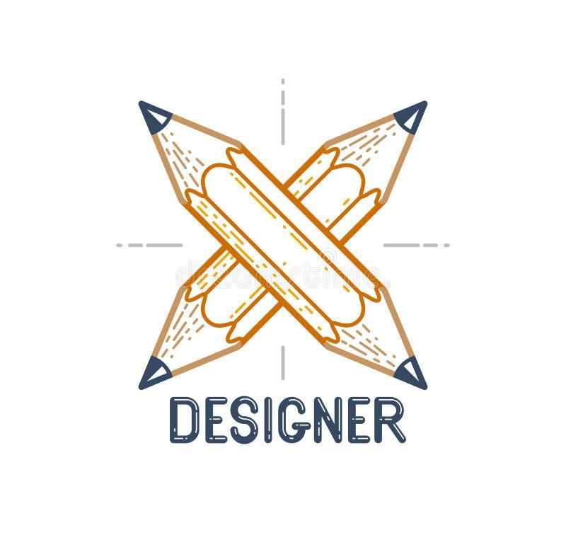 Twee kruisten potloden vector eenvoudig in embleem of pictogram voor ontwerper of studio, de creatieve concurrentie, ontwerperste stock illustratie