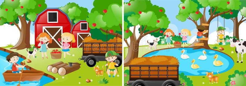 Twee landbouwbedrijfscènes met jonge geitjes en dieren stock illustratie