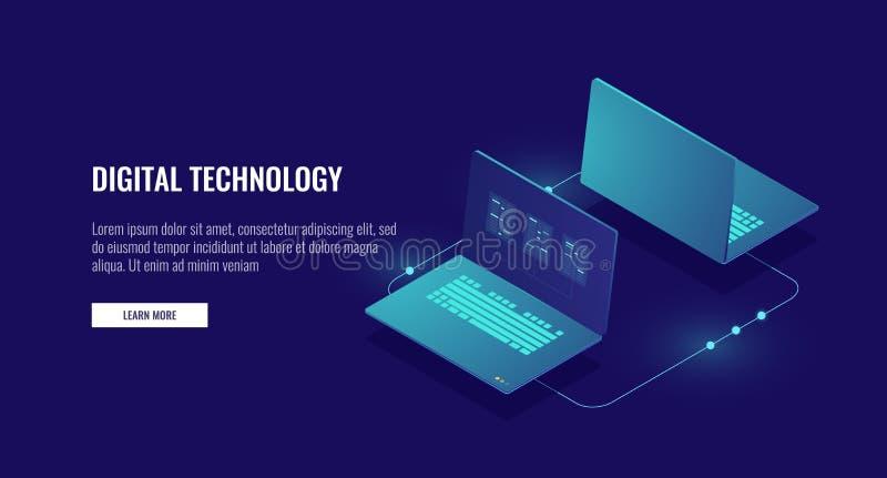 Twee laptop computer die gegevens, gegevensencryptie, beschermd isometrisch verbindingsconcept ruilen stock illustratie