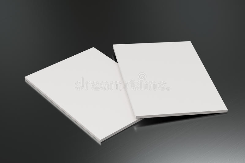 Twee leeg wit gesloten brochuremodel op geborstelde metaalachtergrond vector illustratie