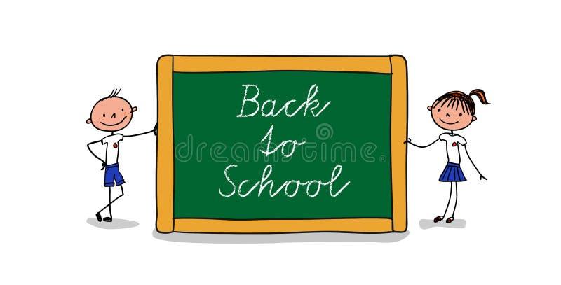 Twee leerlingen die zich naast een groot bord met het met de hand geschreven bericht - terug naar school bevinden vector illustratie