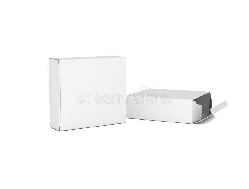 Twee lege witte dozen voor ontwerpen stock illustratie