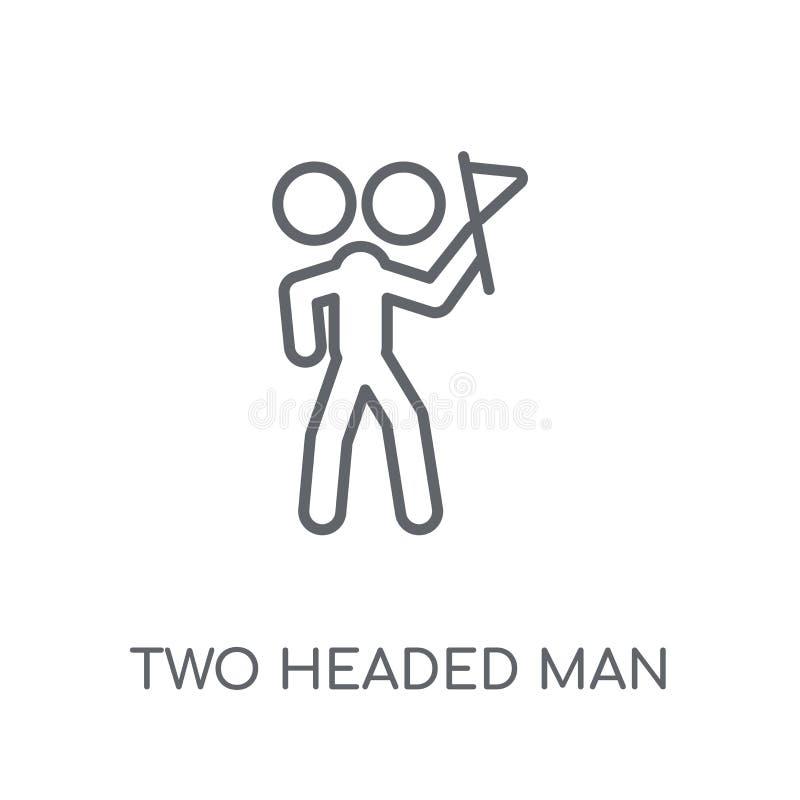 Twee leidden mensen lineair pictogram Modern overzicht Twee leidde mensenembleem c stock illustratie