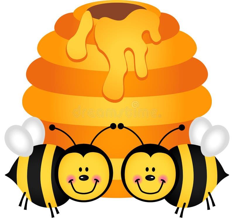 Twee leuke bijen met bijenkorf royalty-vrije illustratie