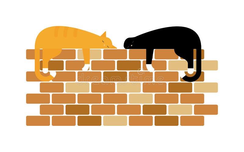 Twee leuke binnenlandse korte haarkatten nestelen zich met elkaar in een venster royalty-vrije illustratie
