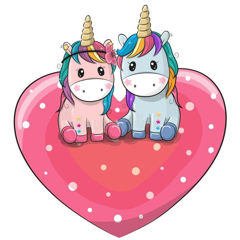 Twee leuke Eenhoorns zitten op een hart royalty-vrije illustratie
