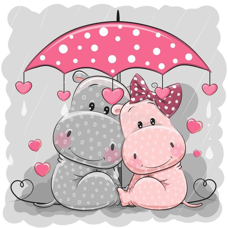 Twee Leuke Hippos met paraplu onder de regen vector illustratie