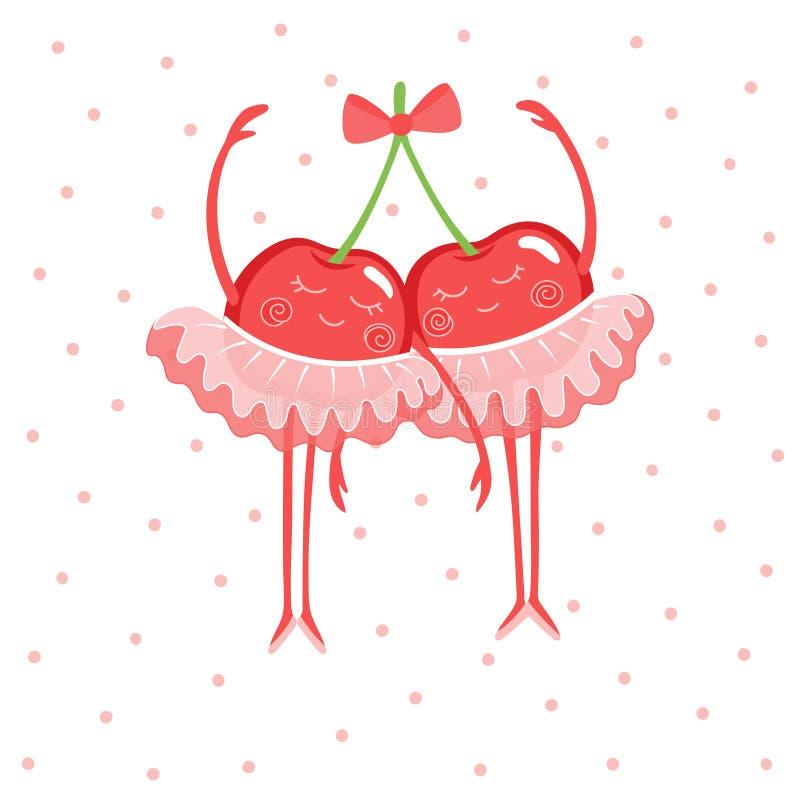 Twee leuke kersenballerina's in rok-tutu en pointe schoenen royalty-vrije illustratie