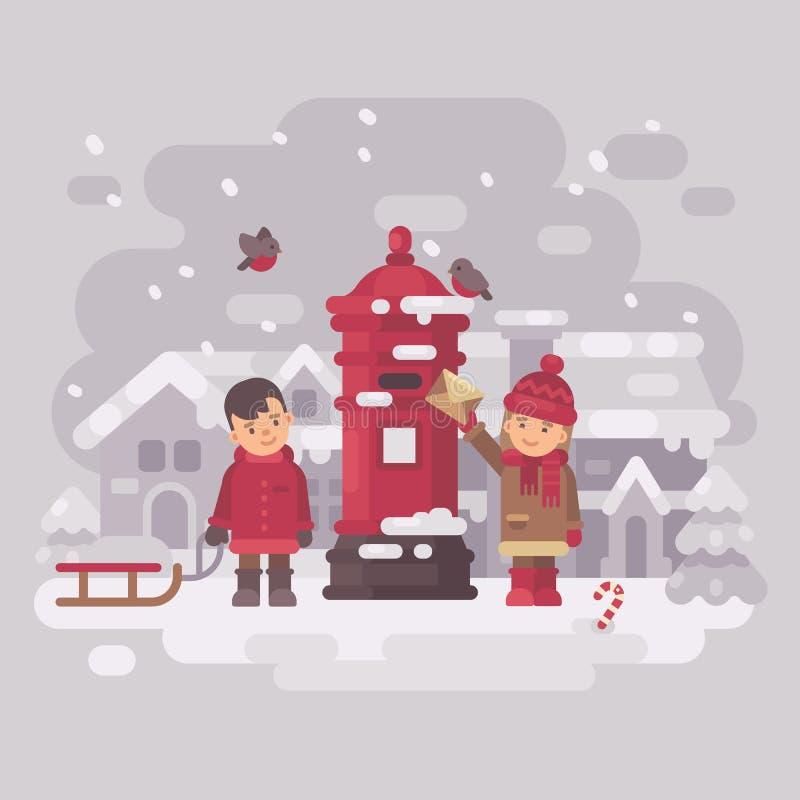 Twee leuke kleine kinderen die een brief verzenden naar Santa Claus royalty-vrije illustratie