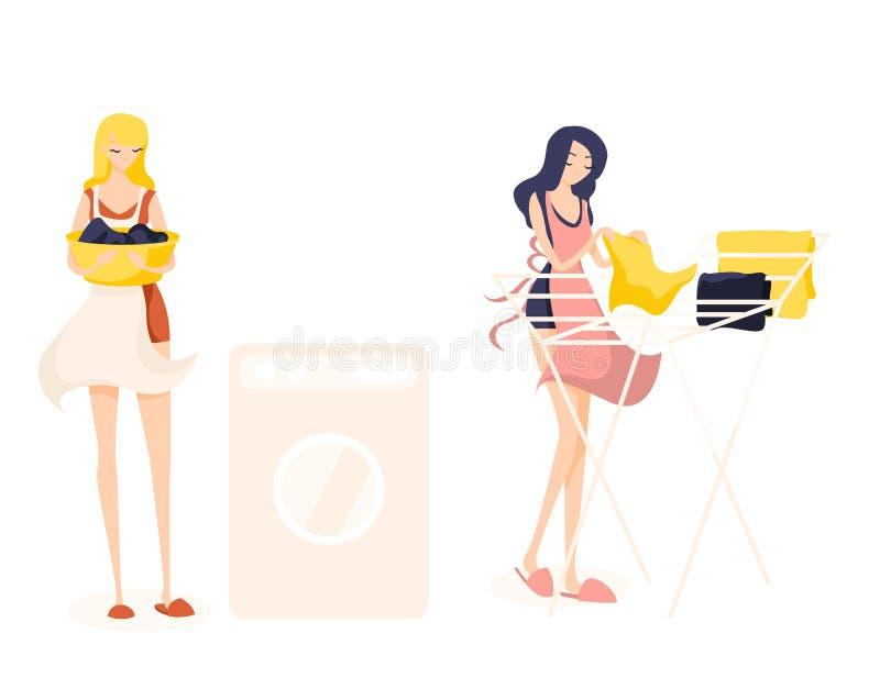 Twee leuke meisjesreinigingsmachines Het blonde gaat kleren wassen, houdt kleren in een bassin en het brunette hangt gewassen sch vector illustratie