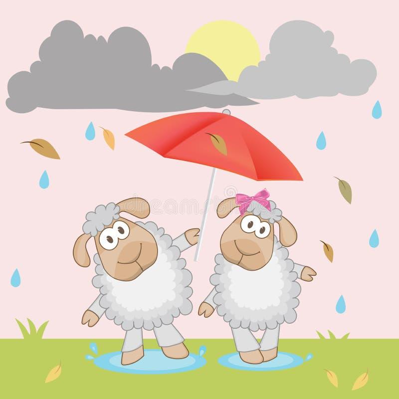 Twee leuke schapen met paraplu vectorillustratie vector illustratie
