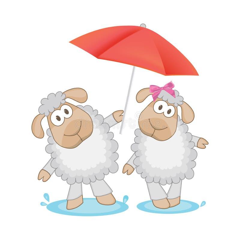 Twee leuke schapen met paraplu vectorillustratie stock illustratie