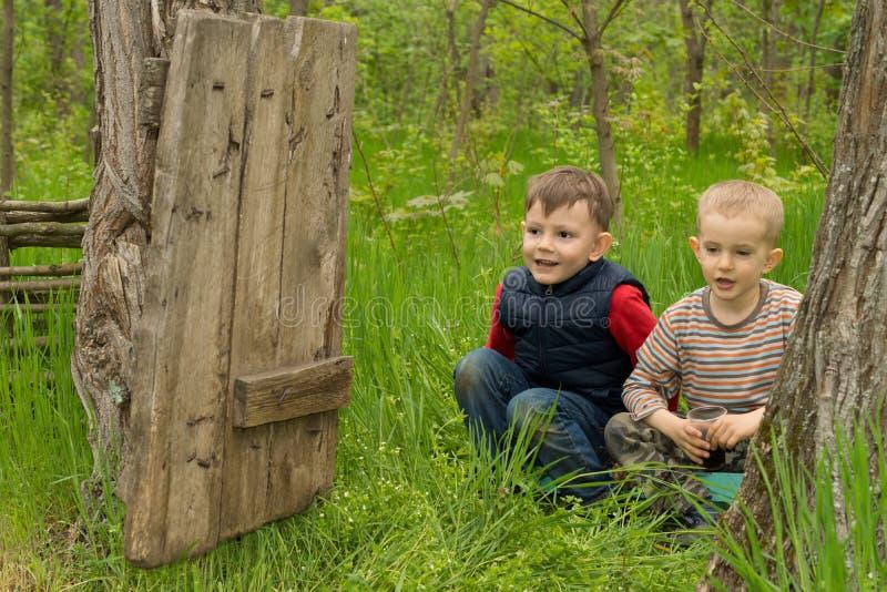 Twee leuke speelse jonge jongens royalty-vrije stock fotografie