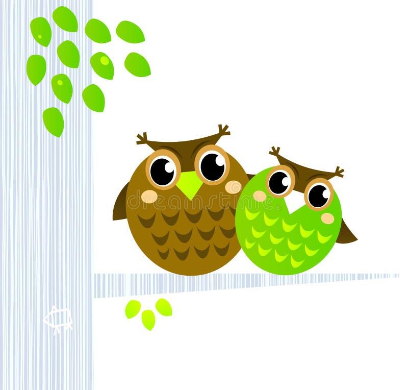 Twee leuke Uilen die op de tak zitten. stock illustratie