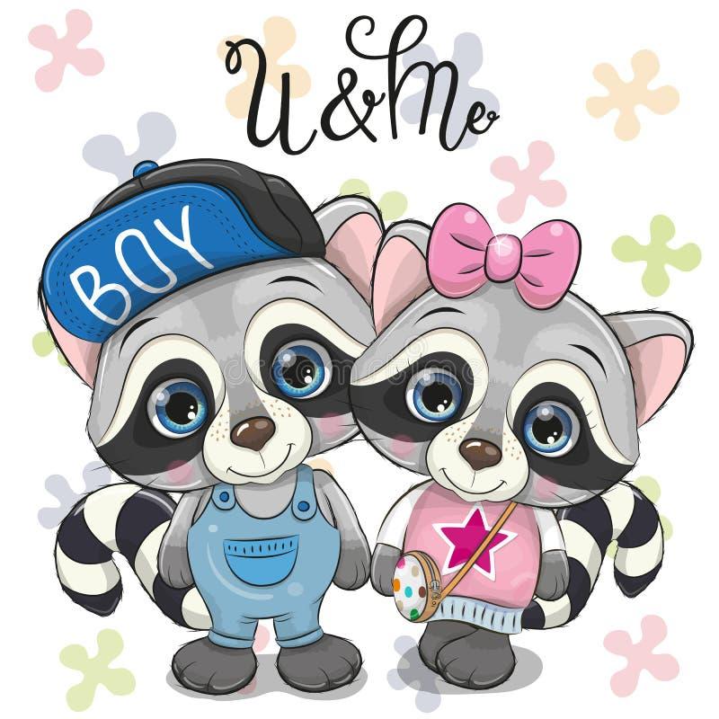 Twee leuke Wasberen op een Bloemenachtergrond royalty-vrije illustratie