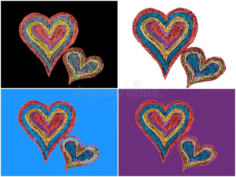 Twee levendige harten van de kleurenvorm sluiten aan elkaar stock illustratie