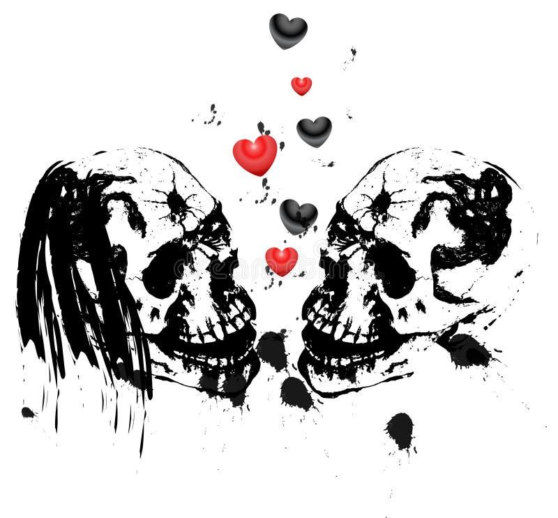 Twee liefdeschedels vector illustratie