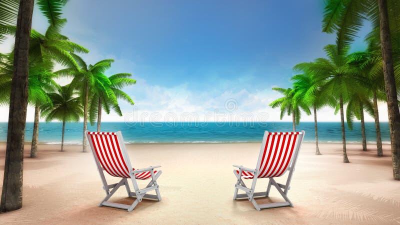 Twee ligstoelen op het zandige tropische strand stock foto